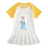 Toddler Girls Prints Frozen Flowers Alsa Princess A-line Pleated Short Sleeve Dresses