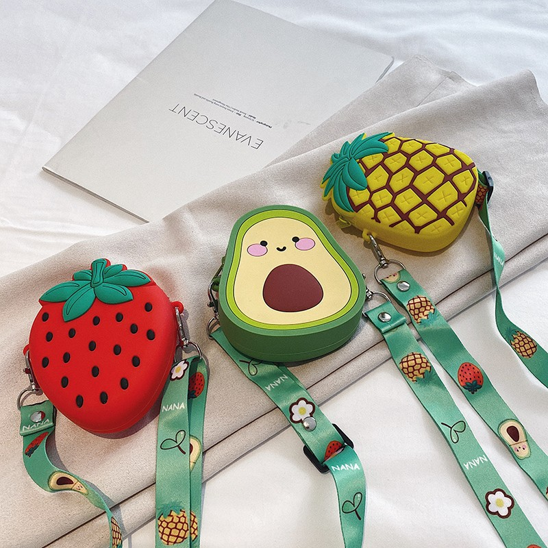 Cute Cartoon Fruit Silicone Mini Single Shoulder Bag
