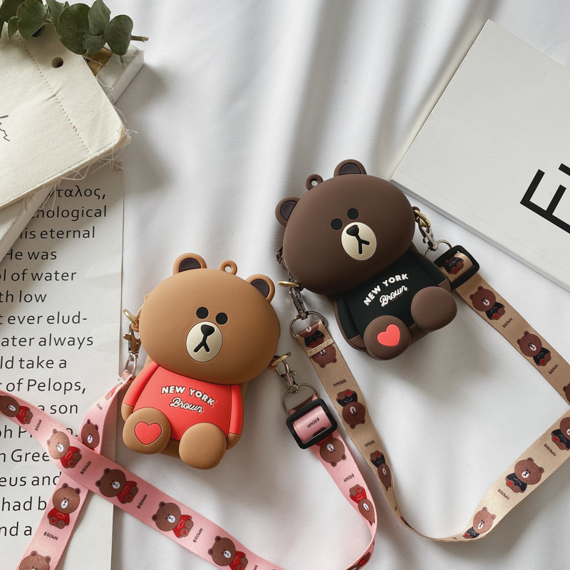 Cute Cartoon Bear Silicone Mini Single Shoulder Bag
