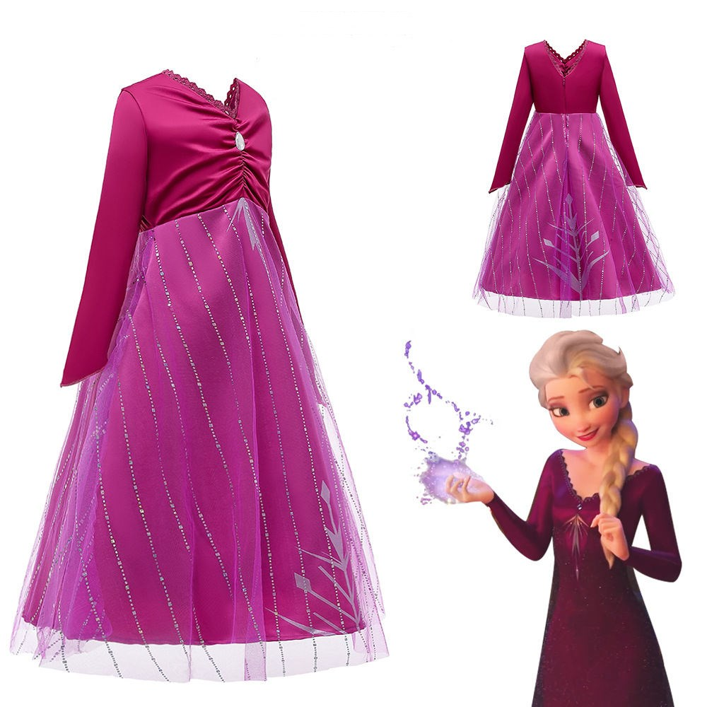 Toddler Girls Frozen 2 Elsa Purple Princess Dress