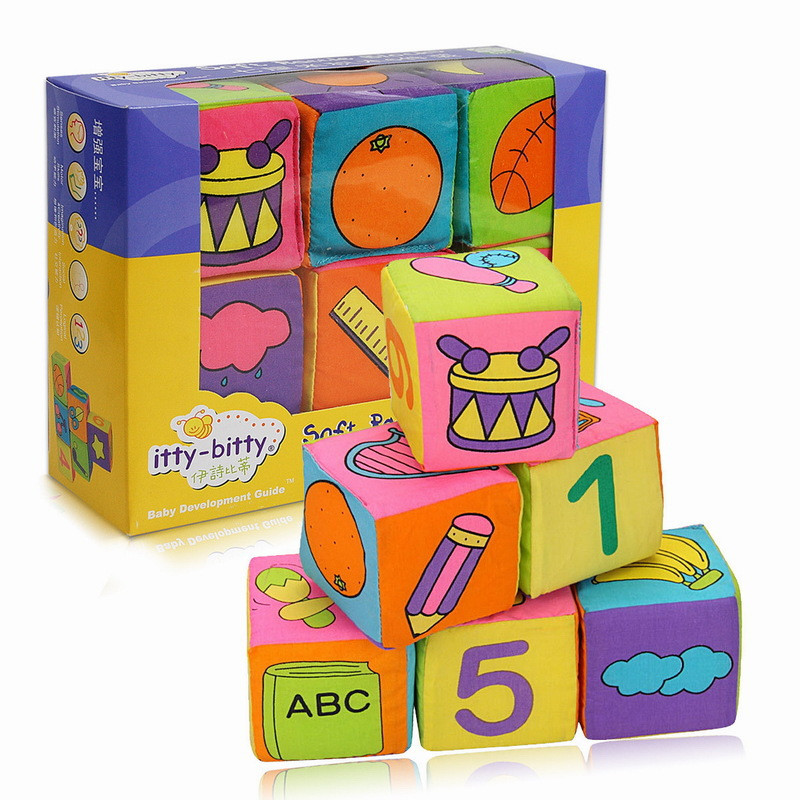 Baby's First Touch and Feel Soft Cloth Building Blocks Sets