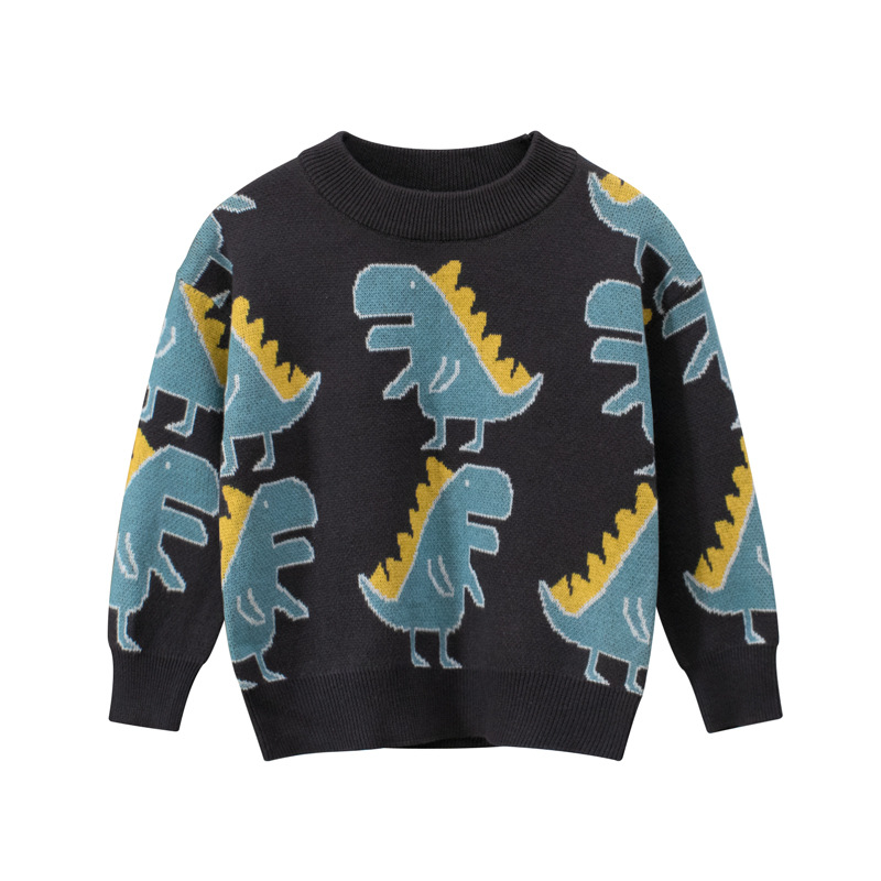 Toddler Kids Boys Prints Cute Blue Dinosaurs Dark Grey Sweater