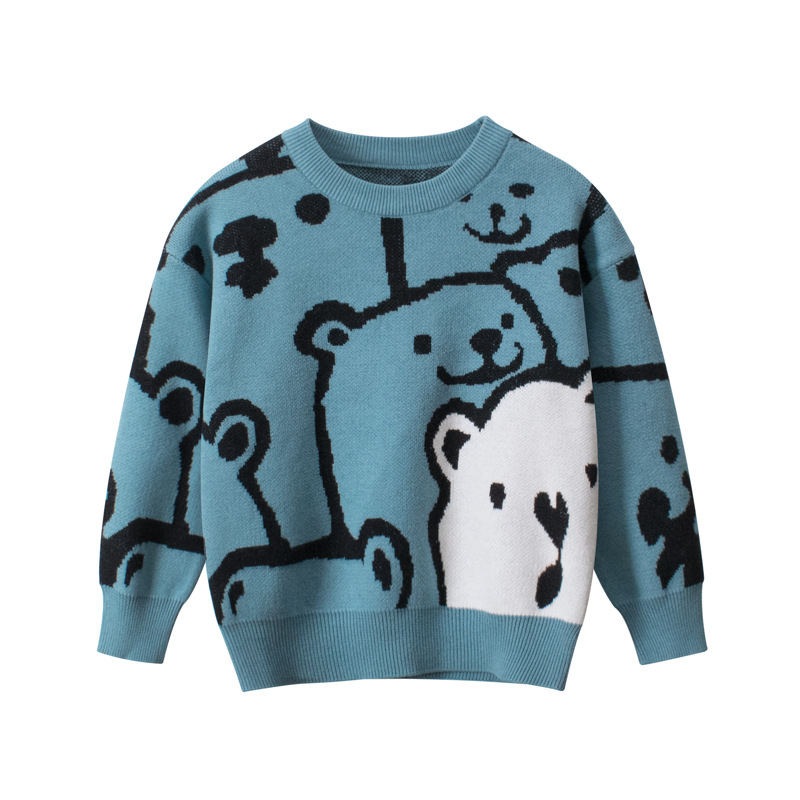 Toddler Kids Boys Cute Print Bear Pullover Wool Sweater