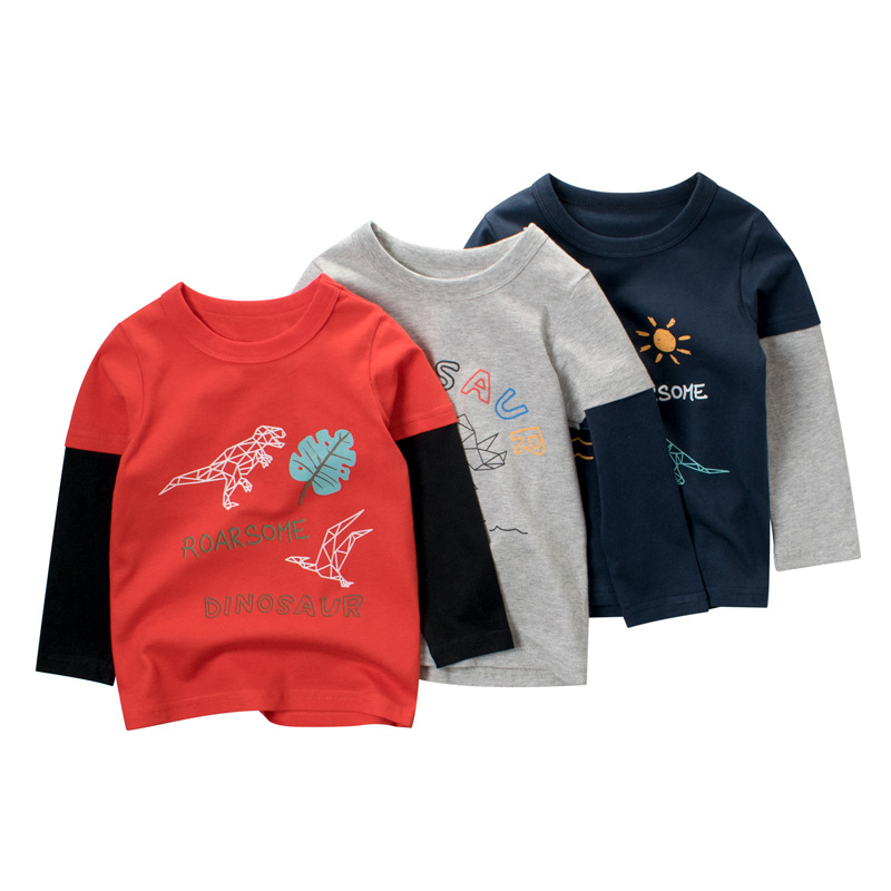 Toddler Kids Boys Prints Dinosaur Long Sleeves T-shirts