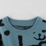 Toddler Kids Boys Cute Print Bear Pullover Wool Sweater