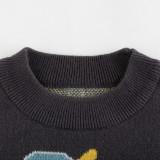Toddler Kids Boys Prints Cute Blue Dinosaurs Dark Grey Sweater