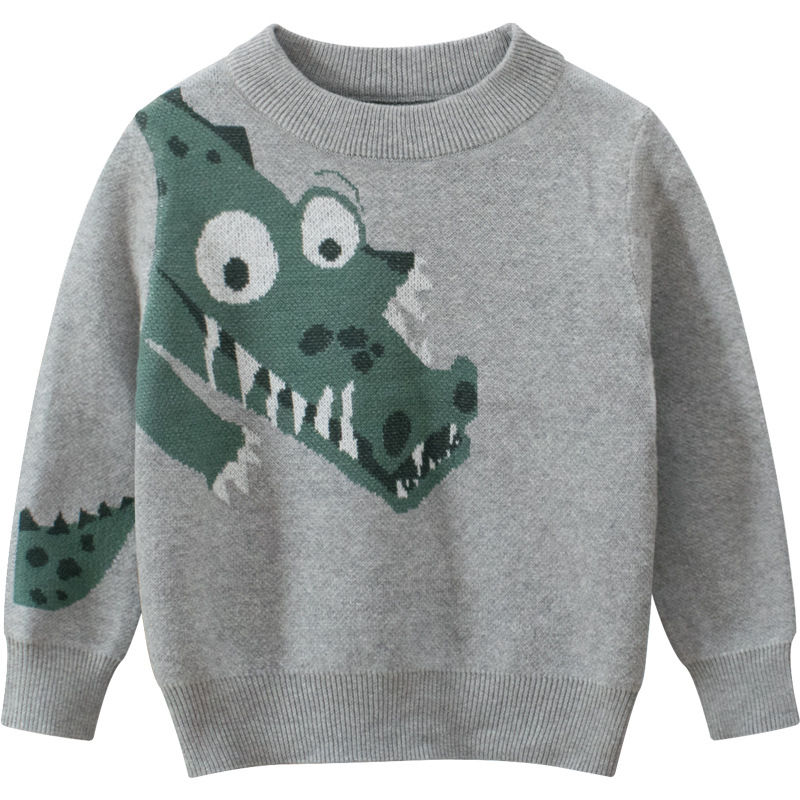Toddler Kids Boys Prints Green Dragon Grey Sweater