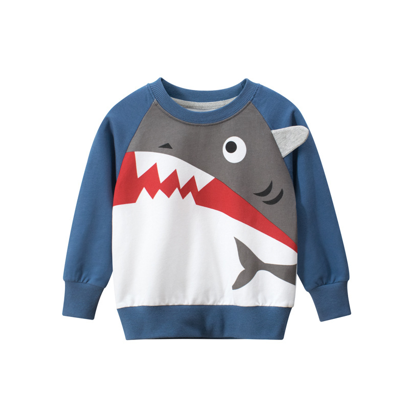Toddler Kids Boys Blue Cute Prints Shark Sweatshirt