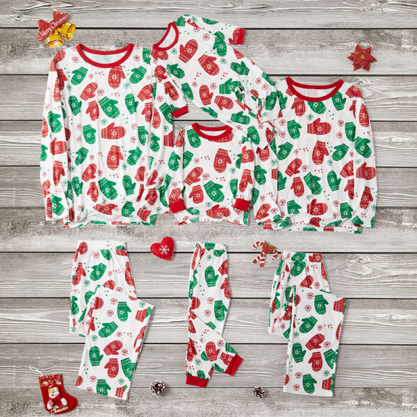 Christmas Family Matching Sleepwear Pajamas Sets White Gloves Snow Top and Pants