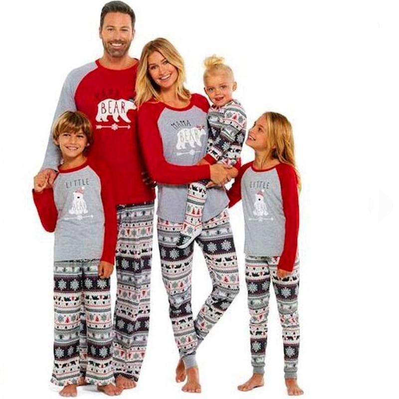 Christmas Family Matching Sleepwear Pajamas Sets Red Deers Top and Gray Beers snowflake Pants