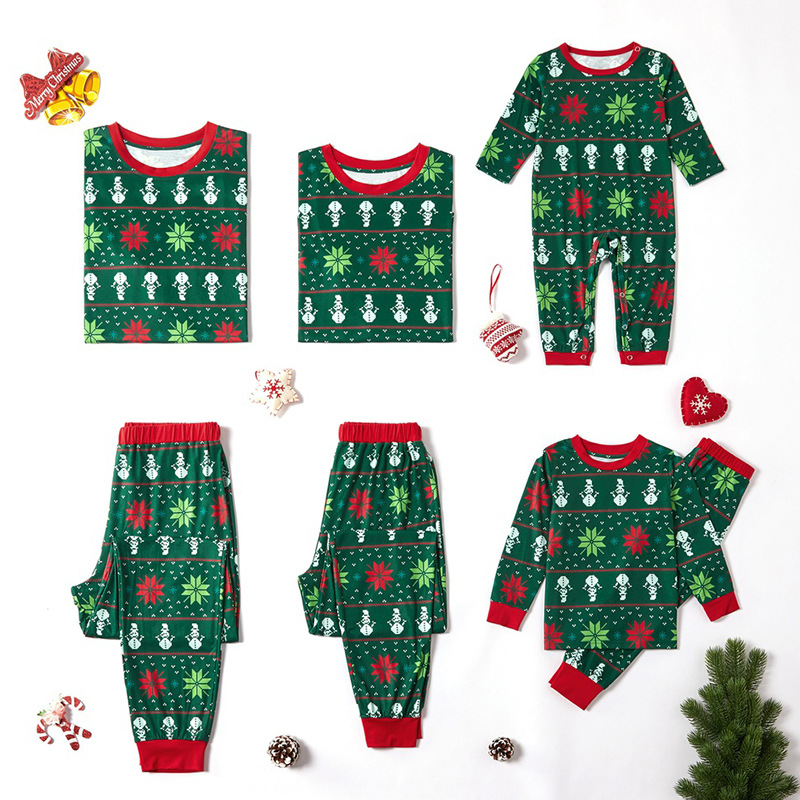 Christmas Family Matching Sleepwear Pajamas Sets Green Snowflake Snowman Top and Pants