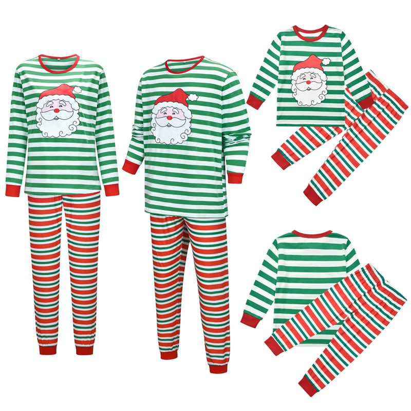 Christmas Family Matching Sleepwear Pajamas Sets Green Santa Claus Top and Red Stripes Pants