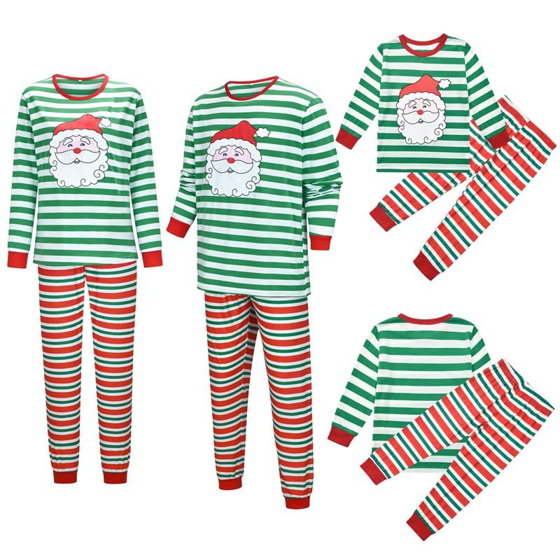 Christmas Family Matching Sleepwear Pajamas Sets Green Santa Claus Top and Red Stripes Pants