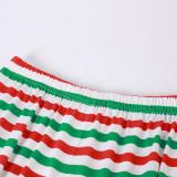 Christmas Family Matching Sleepwear Pajamas Sets Green ELF SQUAD Top and Stripes Pants