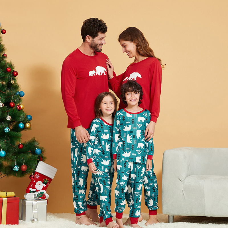 Christmas Family Matching Sleepwear Pajamas Sets Green Cartoon Trees Top and Pants