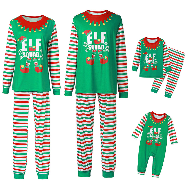 Christmas Family Matching Sleepwear Pajamas Sets Green ELF SQUAD Top and Stripes Pants