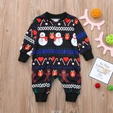 Christmas Family Matching Sleepwear Pajamas Sets Green Snowman Gingersnaps Gifts Top and Black Love Pants