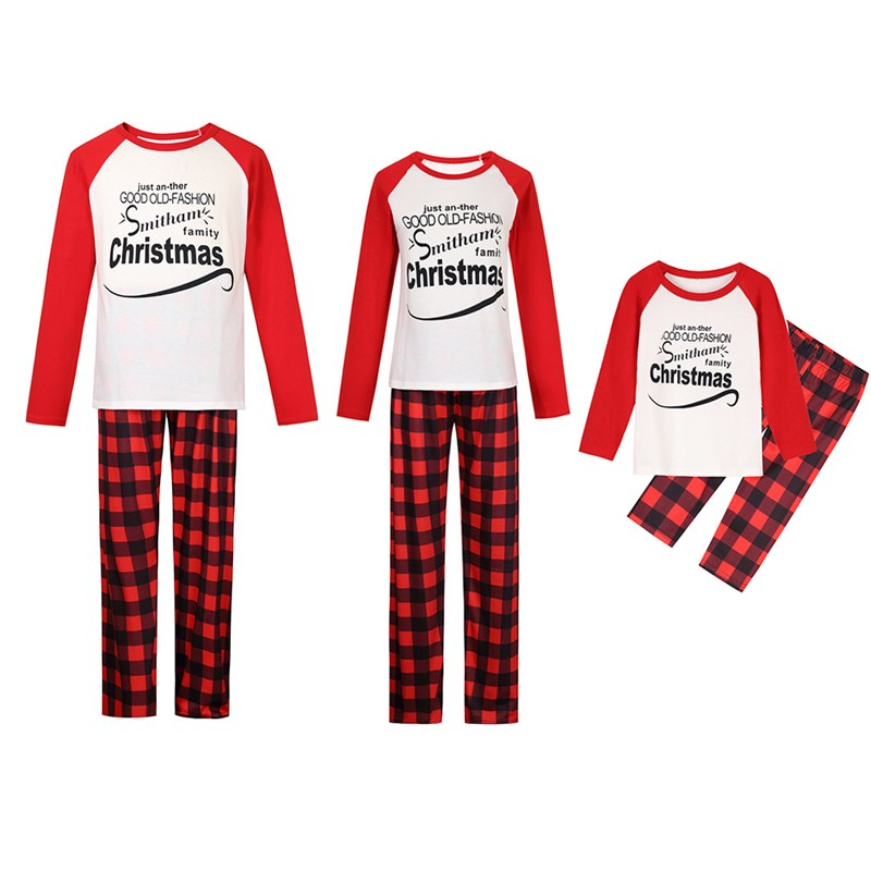 Christmas Family Matching Sleepwear Pajamas Sets White Slogan Top and Red Stripe Pants