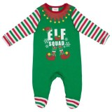 Christmas Family Matching Sleepwear Family Pajamas Sets Green ELF SQUAD Top and Red Stripes Pants