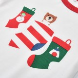 Christmas Family Matching Sleepwear Pajamas Sets White Stocking Bear Top and Red Stripes Pants