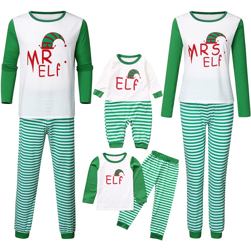 Christmas Family Matching Sleepwear Pajamas Sets ELF Christmas Hat Top and Green Stripes Pants