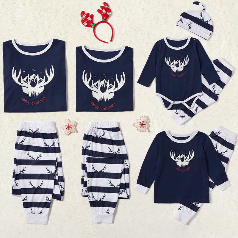 Christmas Family Matching Sleepwear Pajamas Sets Deer Horn Top and Blue Stripes Pants