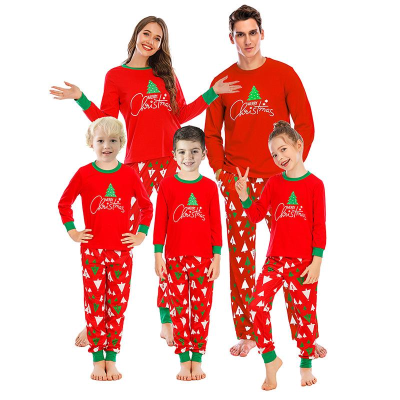 Christmas Family Matching Sleepwear Pajamas Sets Red Trees Top and Pants