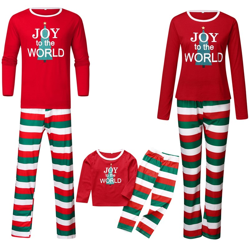 Christmas Family Matching Sleepwear Pajamas Sets Red Joy The World Tree Top and Matching Color Stripes Pants