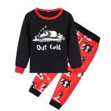 Christmas Family Matching Sleepwear Pajamas Sets Pink Penguins Top and Blue Stripe Pants