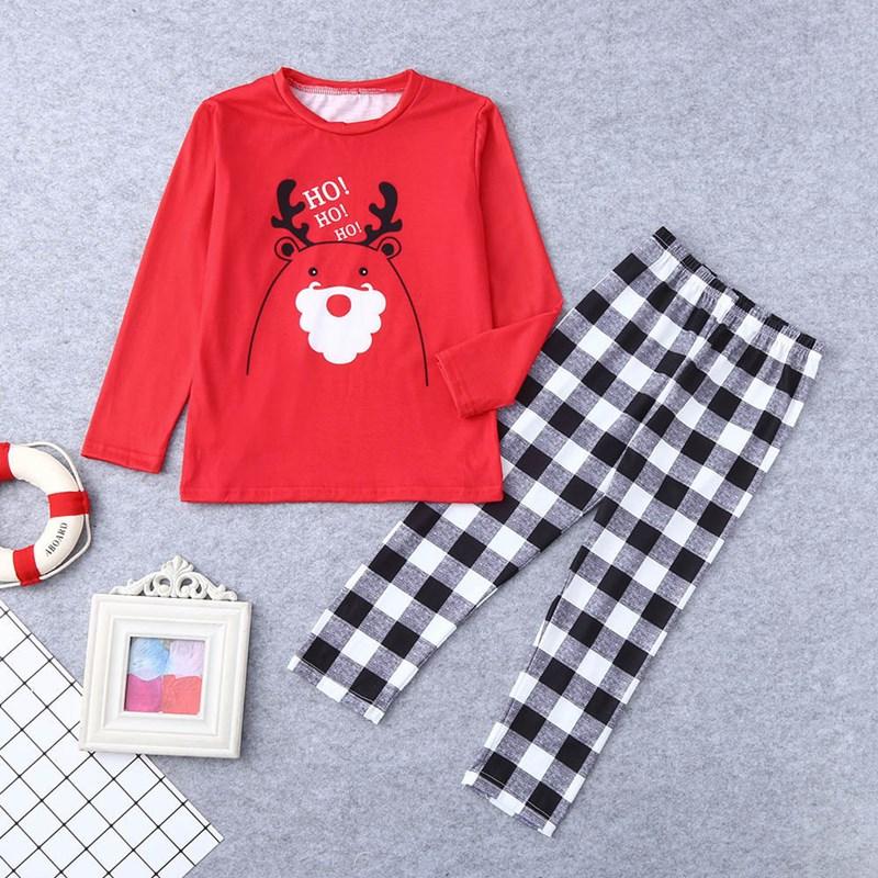 Christmas Family Matching Sleepwear Pajamas Sets Red Cartoon Hohoho Deer Top and Black White Plaid Pants