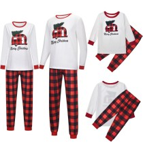 Christmas Family Matching Sleepwear Pajamas Sets White Slogans Top and Red Plaids Pants