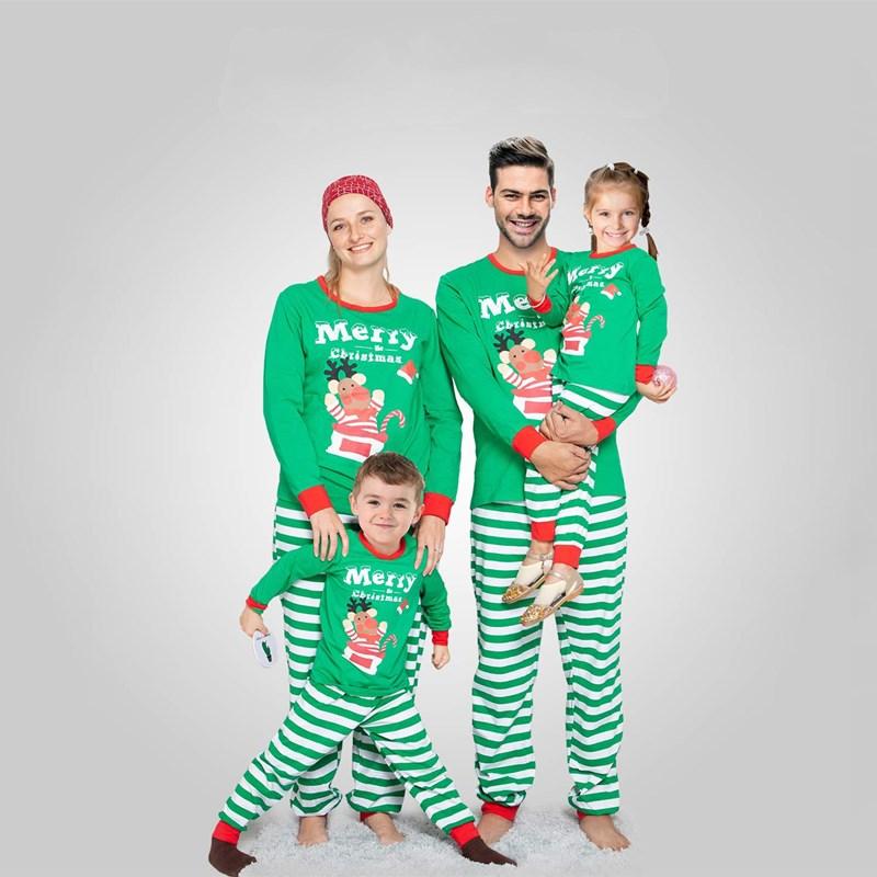 Christmas Family Matching Sleepwear Pajamas Sets Green Deer Top and Stripes Pants