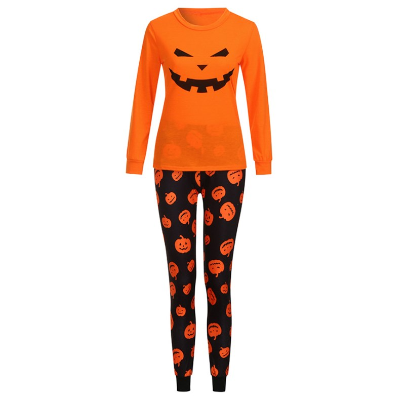 Halloween Christmas Family Matching Sleepwear Pajamas Sets Orange Pumpkins Top and Pants
