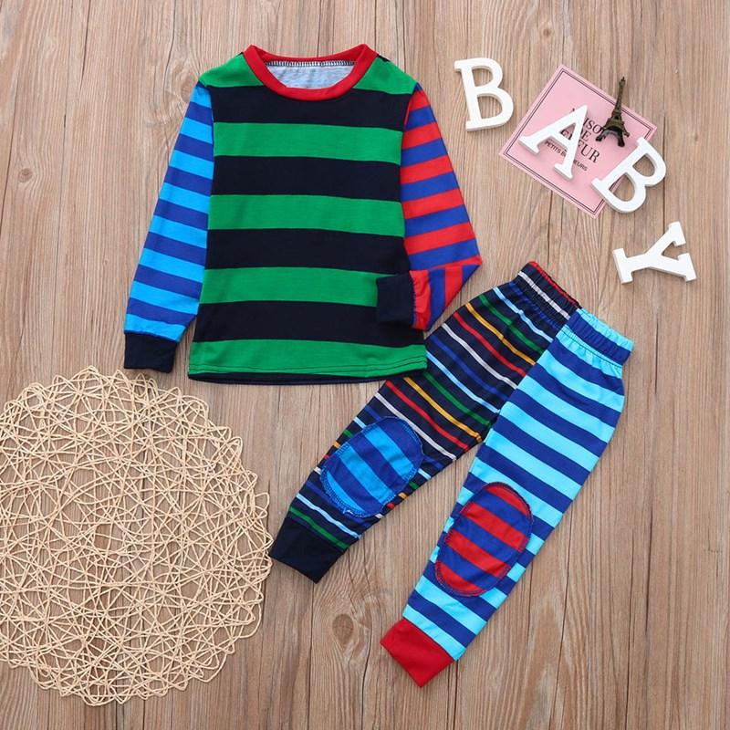 Christmas Family Matching Sleepwear Pajamas Matching Color Stripes Sets