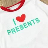 Christmas Family Matching Sleepwear Pajamas Sets Christmas Slogan Heart Love Top and Stripe Pants