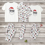 Christmas Family Matching Sleepwear Pajamas Sets White Santa Claus Short Top and Deers Pants
