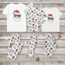 Christmas Family Matching Sleepwear Pajamas Sets White Santa Claus Short Top and Deers Pants