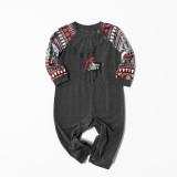 Christmas Family Matching Sleepwear Pajamas Sets Deers Top and Grey Deers Trees Pants