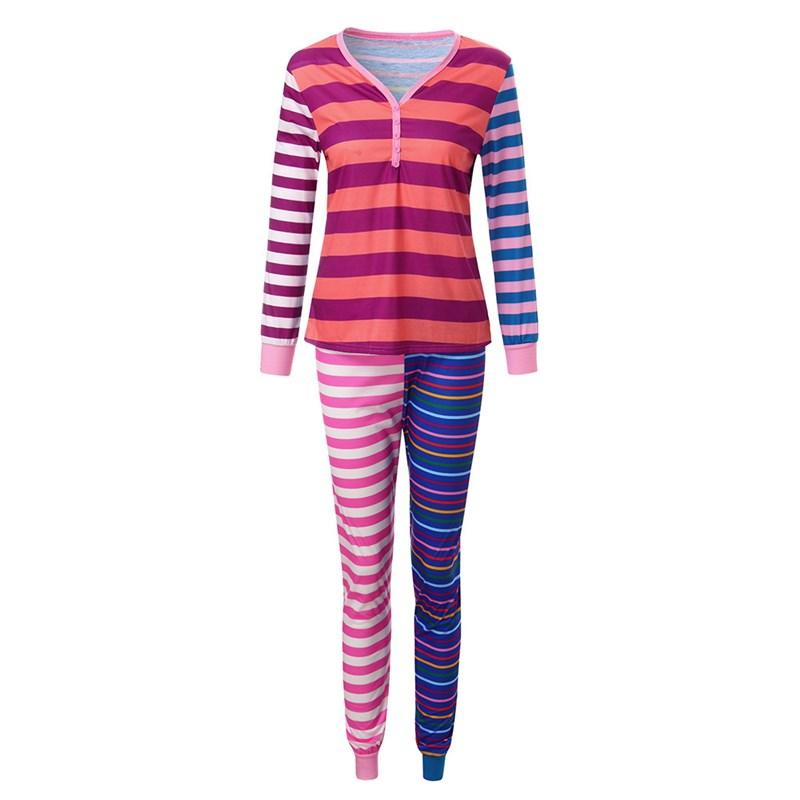 Christmas Family Matching Sleepwear Pajamas Sets Matching Purple Splicing Stripes Top and Pants