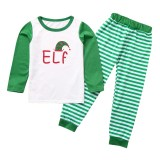 Christmas Family Matching Sleepwear Pajamas Sets ELF Christmas Hat Top and Green Stripes Pants