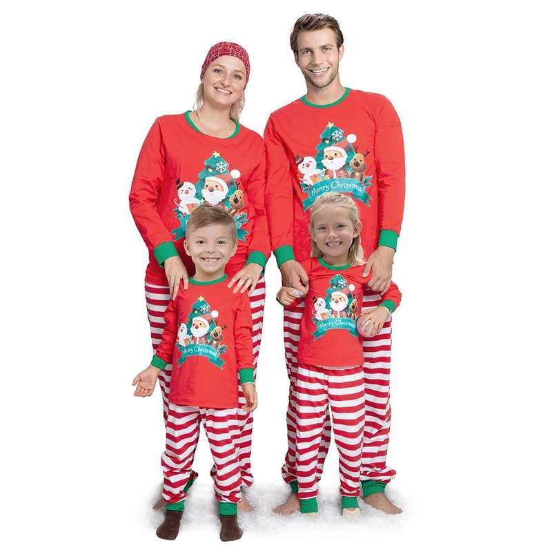 Christmas Family Matching Sleepwear Pajamas Sets Red Santa Claus Snowman Top and Stripe Pants