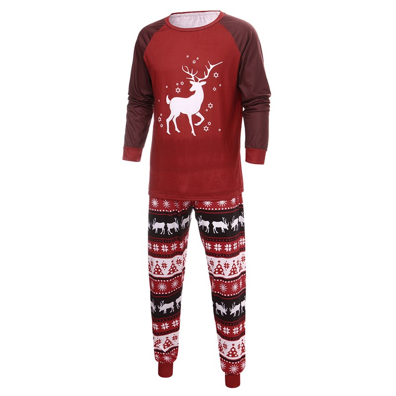 Christmas Family Matching Sleepwear Pajamas Sets Red Deer Top and Christmas Trees Pants