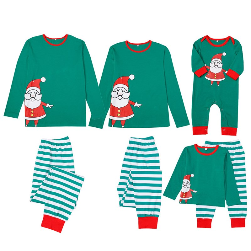 Christmas Family Matching Sleepwear Pajamas Sets Santa Claus Top and Green Stripes Pants