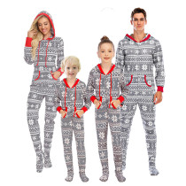 Christmas Family Matching Sleepwear Prints Snow Onesie Jumpsuit Pajamas