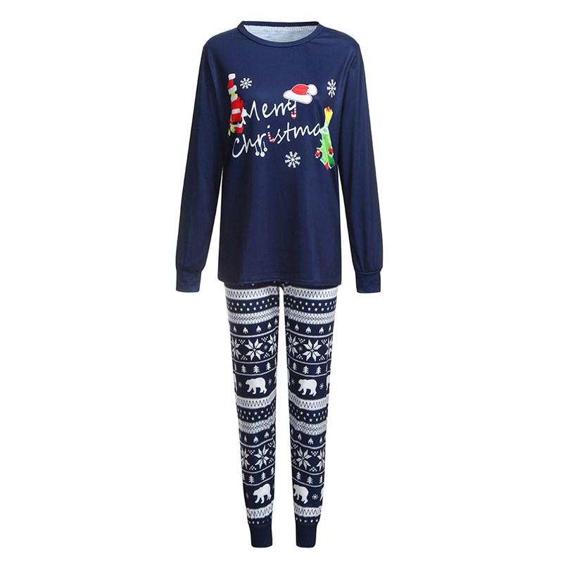 Christmas Family Matching Sleepwear Pajamas Sets Merry Christmas Santa Top and Snowflake Bear Pants