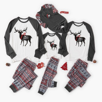 Christmas Family Matching Sleepwear Pajamas Sets Deers Top and Grey Deers Trees Pants