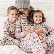 Christmas Family Matching Sleepwear Pajamas Sets White Deers Trees Printing Top and Pants
