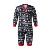 Christmas Family Matching Sleepwear Pajamas Sets Dark Blue Santa Claus Trees Snow Top and Pants