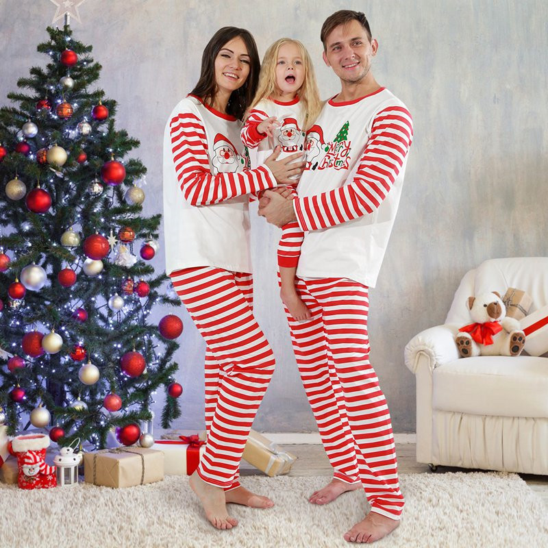 Christmas Family Matching Sleepwear Pajamas Sets White Santa Claus Tree Top and Red Stripes Pants
