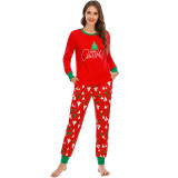 Christmas Family Matching Sleepwear Pajamas Sets Red Trees Top and Pants